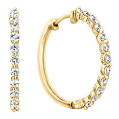 .23 CT. TW. Diamond Hoop Earrings in 14K Yellow Gold (H-I, I1)