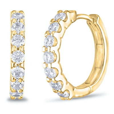 .23 CT. TW. Diamond Hoop Earrings in 14K Yellow Gold (H-I, I1)