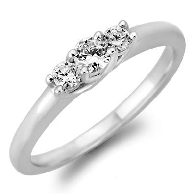 .23 CT. T.W. Round Diamond 3-Stone Ring in 14K White or Yellow Gold (I, I1)