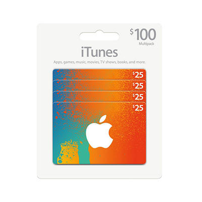 iTunes $100 Multi-Pack - 4/$25 Gift Cards