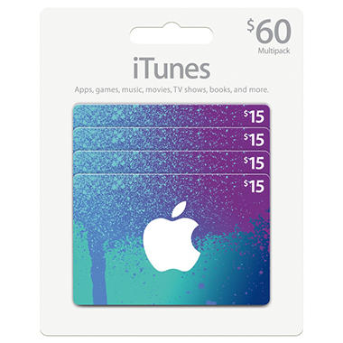 iTunes $60 Multi-Pack - 4/$15 Gift Cards