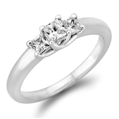 .23 CT. T.W. Princess-cut Diamond 3-Stone Ring in 14K White or Yellow Gold (I, I1)