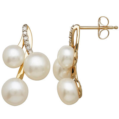 Freshwater Cultured Pearl Cluster Earrings with Diamond Accents in 14K Yellow Gold