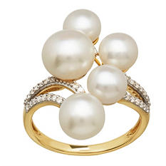 Freswater Cultured Pearl Cluster Ring with Diamond Accents in 14K Yellow Gold