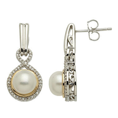 Freshwater Cultured Pearl Earrings with Diamond Accents in 14K Yellow Gold & Sterling Silver