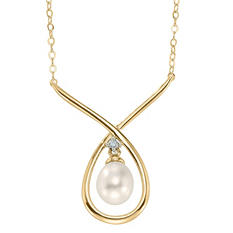 Freshwater Cultured Pearl Necklace with Diamond Accents in 14K Yellow Gold