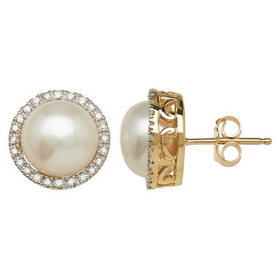 Freshwater Cultured Pearl Earrings with Diamond Accents in 14K Yellow Gold