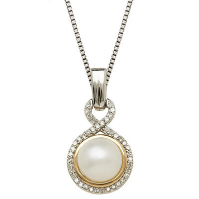 Freshwater Cultured Pearl Pendant with Diamond Accents in 14K Yellow Gold & Sterling Silver