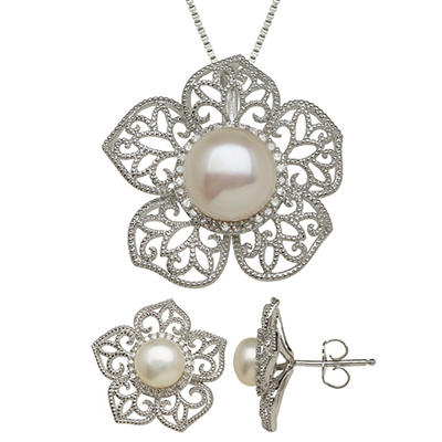 Freshwater Cultured Pearl Pendant and Earring Flower Set with Diamond Accents in Sterling Silver