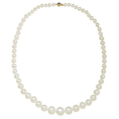 5-12mm Freshwater Cultured Graduated Pearl Necklace Strand in 14K Yellow Gold