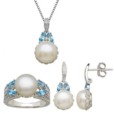 Freshwater Cultured Pearl Earring, Pendant & Ring Set with Blue Topaz and White Topaz in Sterling Silver