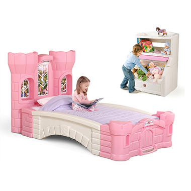 Step2 Princess Palace Twin Bed™ and a Pink Lift & Hide Bookcase Storage Chest™