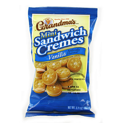 Grandmas Mini Vanilla Crème Cookies Peg Bag - 3.71 oz. Bag - 24 ct.