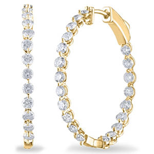 2.45 CT. TW. Diamond Hoop Earrings in 14K Yellow Gold (H-I, I1)