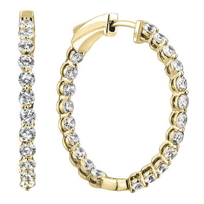3.45 CT. TW. Diamond Hoop Earrings in 14K Yellow Gold (H-I, I1)