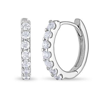 1 CT. TW. Diamond Hoop Earrings in 14K White Gold (H-I, I1)