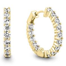 2 CT. TW. Diamond Hoop Earrings in 14K Yellow Gold (H-I, I1)