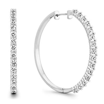 2 CT. TW. Diamond Hoop Earrings in 14K White Gold (H-I, I1)