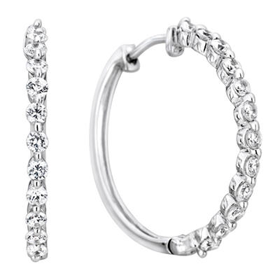 1 CT. TW. Diamond Hoop Earrings in 14K White Gold (H-I, I1)
