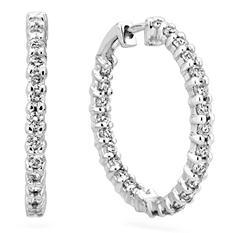 3.45 CT. TW. Diamond Hoop Earrings in 14K White Gold (H-I, I1)