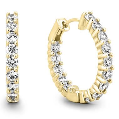 3 ct tw diamond hoop earrings in 14k yellow gold h i