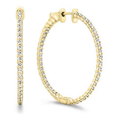 2 CT. TW. Diamond Hoop Earrings in 14K Yellow Gold (H-I, I1)