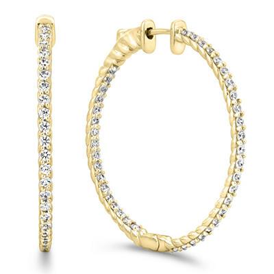3 CT. TW. Diamond Hoop Earrings in 14K Yellow Gold (H-I, I1)