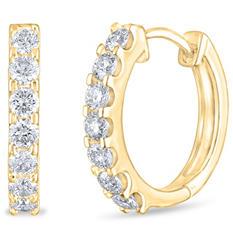 .46 CT. TW. Diamond Hoop Earrings in 14K Yellow Gold (H-I, I1)