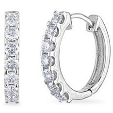 .46 CT. TW. Diamond Hoop Earrings in 14K White Gold (H-I, I1)