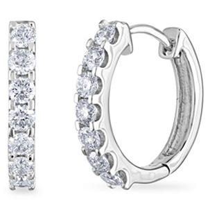 .46 CT. TW. Diamond Hoop Earrings in 14K White Gold (H-I, I1)
