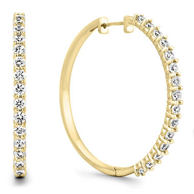 1 ct tw diamond hoop earrings in 14k yellow gold h i