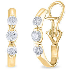 1 CT. TW. Diamond Earrings in 14K Yellow Gold (H-I, I1)