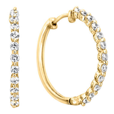 .46 CT. TW. Diamond Hoop Earrings in 14K Yellow Gold (H-I, I1)