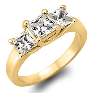 1.95 CT. T.W. Princess-cut Diamond 3-Stone Ring in 14K White or Yellow Gold (I, I1)