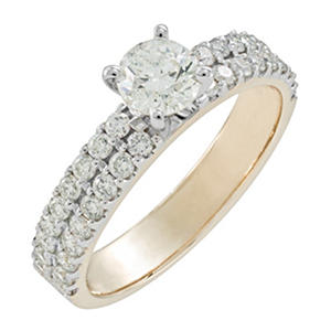 1.01 ct. t.w. Round Cut Diamond Engagement Ring in 14K Yellow Gold (H-I, I1)