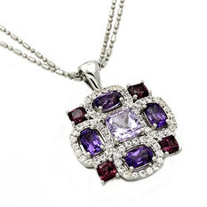 White Sapphire, Amethyst and Rhodolite Pendant in Sterling Silver