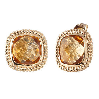 Cushion-Cut Citrine Stud Earrings in 14K Yellow Gold