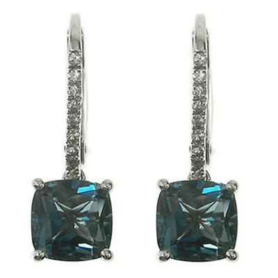London Blue Topaz and White Sapphire Earrings in 14K White Gold