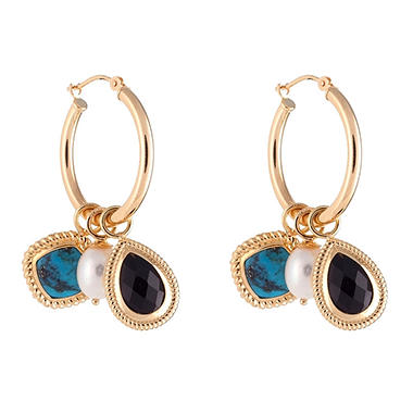Onyx, Turquoise and Freshwater Pearl Gemstone Hoop Earrings in 14K Yellow Gold