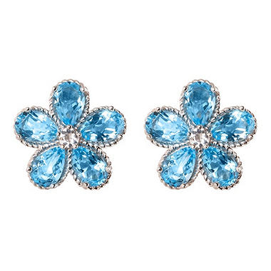 Blue & White Topaz Flower Earrings in 14K White Gold
