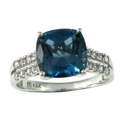 London Blue Topaz and White Sapphire Ring in 14K White Gold