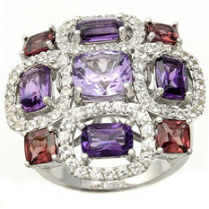 White Sapphire, Amethyst and Rhodolite Ring in Sterling Silver