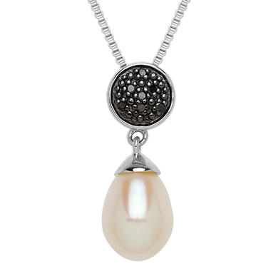 10mm x 7mm Pearl Pendant with Black Diamonds in Sterling Silver