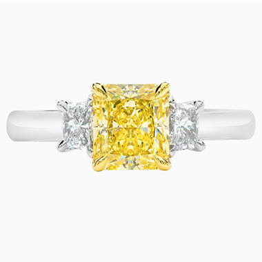 1.90 CT. T.W. Fancy Intense Yellow Radiant-Cut 3-Stone Diamond Ring with Trapezoids in Platinum