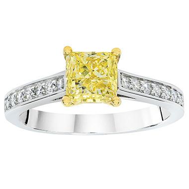 1.55 CT. T.W. Fancy Yellow Princess-Cut Melee Diamond Ring in Platinum & 18K Yellow Gold