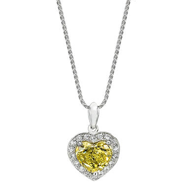 1.70 CT. T.W. Fancy Intense Yellow Heart-shaped Diamond with Halo Melee Pendant in Platinum