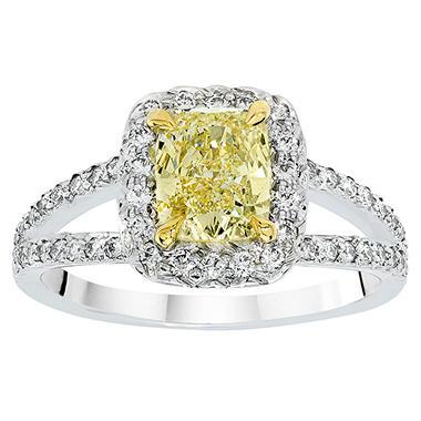 1.75 CT. T.W. Fancy Light Yellow Cushion-Cut Halo Split Shank Diamond Ring in Platinum