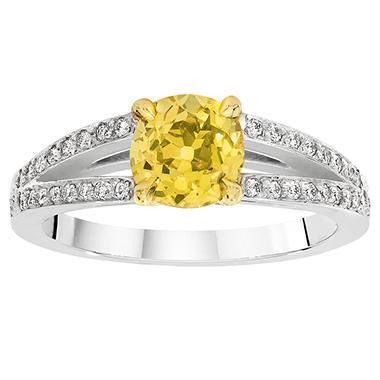 1.47 CT. T.W. Fancy Intense Green Yellow Old Minor-Cut Split Shank Diamond Ring in Platinum