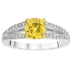 1.47 CT. T.W. Fancy Intense Green Yellow Old Minor-Cut Split Shank Diamond Ring in Platinum