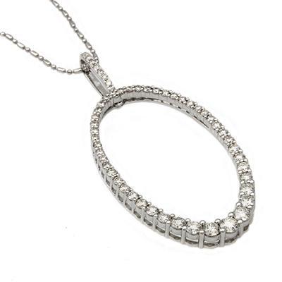 1.50 CT. T.W. Diamond Graduated Oval Hoop Pendant in 14K White Gold (I, I1)